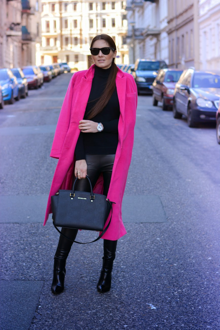 all black outfit with pop of color